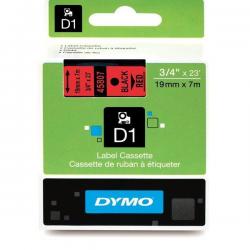 Taśma Dymo D1 19mm x 7m - czerwona/czarny nadruk