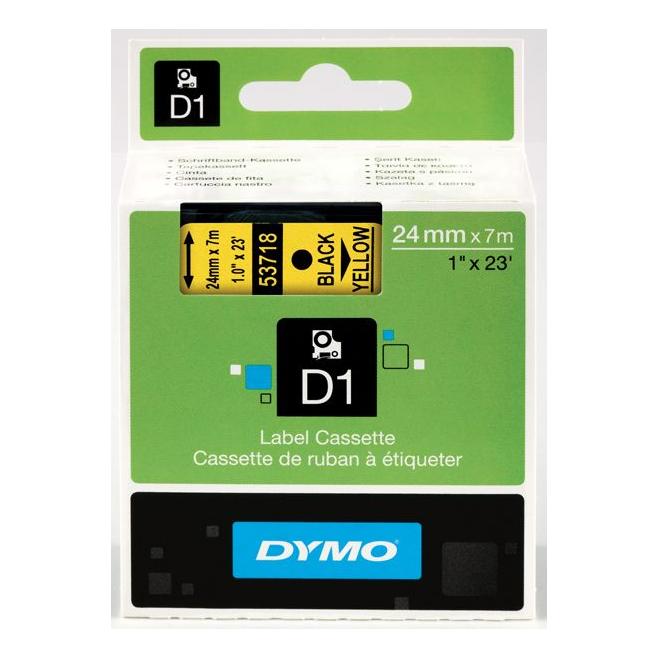 Taśma Dymo D1 24mm x 7m - żółta/czarny nadruk