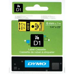 Taśma Dymo D1 6mm x 7m - żółta/czarny nadruk