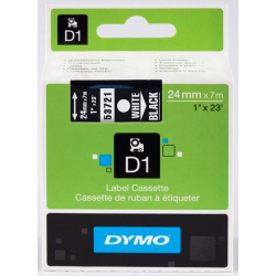 Taśma Dymo D1 24mm x 7m - czarna/biały nadruk