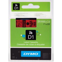 Taśma Dymo D1 24mm x 7m - czerwona/czarny nadruk