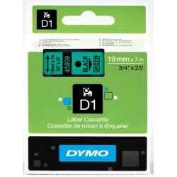 Taśma Dymo D1 19mm x 7m - zielona/czarny nadruk