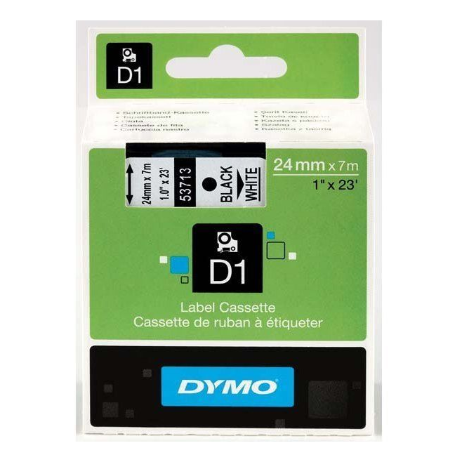 Taśma Dymo D1 24mm x 7m - biała/czarny nadruk