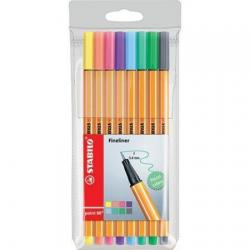 Cienkopisy Stabilo Point 88 - komplet w etui 8 kolorów pastele