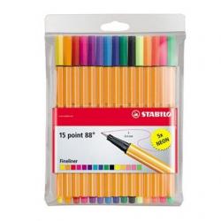 Cienkopisy Stabilo Point 88 - komplet w etui 15 kolorów w tym 5 neonowych