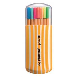 Cienkopisy Stabilo Point 88 Zebrui - komplet w etui 20 kolorów w tym 5 neonowych