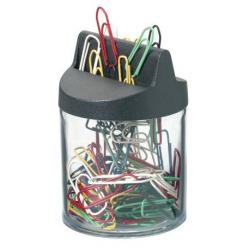 Pojemnik z kolorowymi spinaczami - transparentny