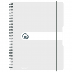 Brulion na spirali Herlitz EasyOrga - A4 PP, w kratkę - biały transparentny