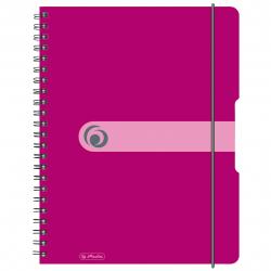 Brulion na spirali Herlitz EasyOrga - A4 PP, w kratkę - różowy
