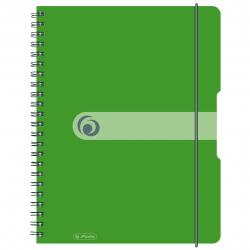 Brulion na spirali Herlitz EasyOrga - A4 PP, w kratkę - zielony