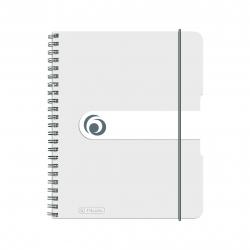 Brulion na spirali Herlitz EasyOrga - A5 PP, w kratkę - biały transparentny