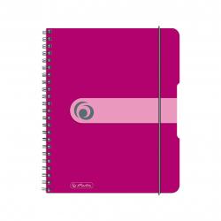 Brulion na spirali Herlitz EasyOrga - A5 PP, w kratkę - różowy