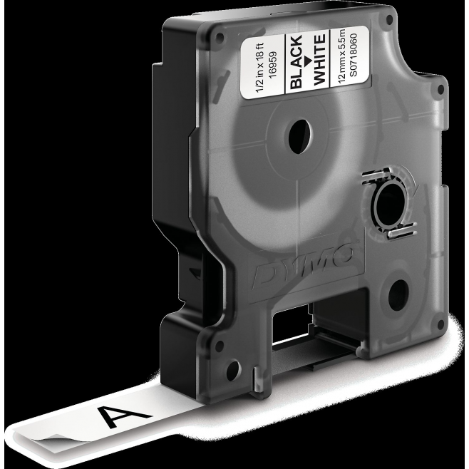 Taśma DYMO D1 16959 poliestrowa trwała 12mm x 5,5m - biała/czarny nadruk