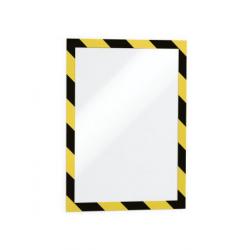 Ramka magnetyczna samoprzylepna Duraframe Security A4 - żółto-czarna / 2 szt.