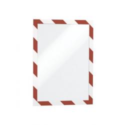 Ramka magnetyczna samoprzylepna Duraframe Security A4 - czerwono-biała / 10 szt.