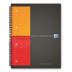 Kołonotatnik Oxford Activebook z tagami B5 w kratkę - szary
