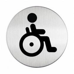 """Tabliczka / piktogram """"WC dla osób niepełnosprawnych"""" okrągła - srebrna  / 1 szt."""