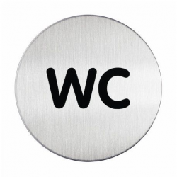 "Tabliczka / piktogram ""WC"" okrągła - srebrna  / 1 szt."
