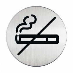 """Tabliczka / piktogram """"Dla niepalących"""" okrągła - srebrna / 1 szt."""