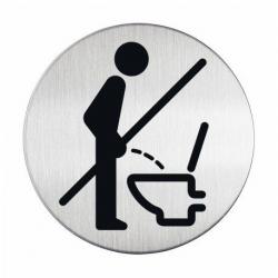 """Tabliczka / piktogram """"WC proszę usiąść"""" okrągła - srebrna  / 1 szt."""