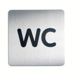 """Tabliczka / piktogram """"WC"""" kwadratowa - srebrna  / 1 szt."""