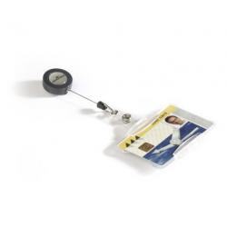 Etui do kart identyfikacyjnych z mechanizmem ściągającym otwarte - transparentne  / 10 szt.