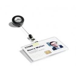 Etui na karty identyfikacyjne poziome z mechanizmem ściągającym - transparentne / 10 szt.