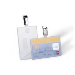 Etui na karty identyfikacyjne pionowe z klipem - transparentne / 25 szt.