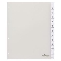 Przekładki A4 Durable numeryczne 1-12 poszerzane - transparentne / 1 kpl.
