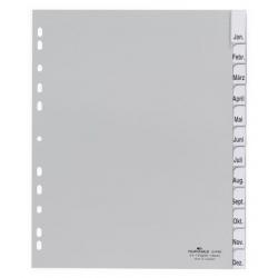 Przekładki A4 Durable numeryczne poszerzane 1-12 / 12 części - jasnoszare / 1 kpl.