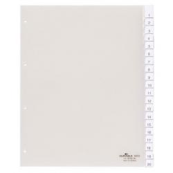 Przekładki A4 Durable numeryczne poszerzane 1-20 / 20 części - transparentne / 1 kpl.
