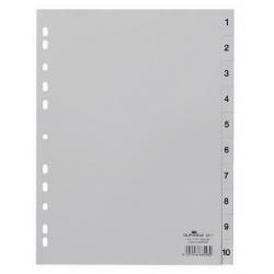 Przekładki A4 Durable numeryczne 1-10 / 10 części - jasnoszare / 1 kpl.