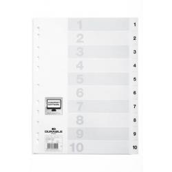 Przekładki A4 Durable numeryczne 1-10  / 10 części - białe  / 1 kpl.