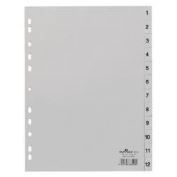Przekładki A4 Durable numeryczne 1-12  / 12 części - jasnoszare  / 1 kpl.