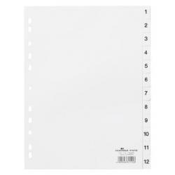 Przekładki A4 Durable numeryczne 1-12 / 12 części - białe / 1 kpl.