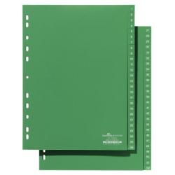 Przekładki A4 Durable numeryczne 1-52 / 52 części - zielone / 1 kpl.