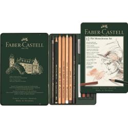Zestaw ołówków i grafitów Faber-Castell Pitt Monochrome - 12 elementów