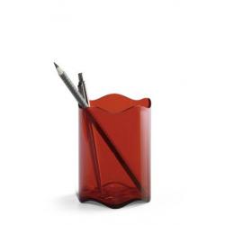 Pojemnik na długopisy TREND - czerwony transparentny