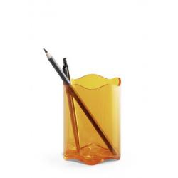 Pojemnik na długopisy TREND - pomarańczowy transparentny