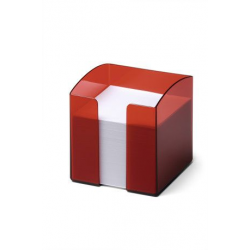 Pojemnik z karteczkami Trend - czerwony transparentny