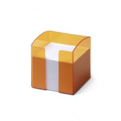 Pojemnik z karteczkami Trend -pomarańczowy transparentny