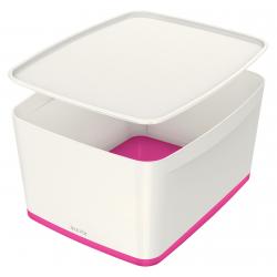 Pojemnik duży Leitz MyBox z pokrywą - biało-różowy