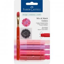Kredki pigmentowe Faber-Castell Gelatos - 4 sztuki - czerwone