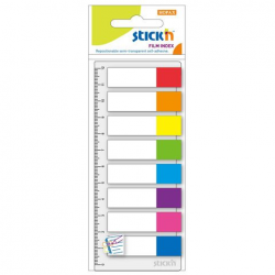 Zakładki indeksujące Stick'n 12x45mm transparent z linijką - 8 kolorów neon