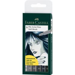 Pisaki artystyczne Faber Castell - PITT ARTIST PEN SB - 6 kolorów