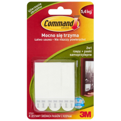 Rzepy Command 17201 średnie do obrazów, 4 szt. - białe