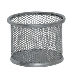 Pojemnik na spinacze Q-CONNECT Office Set metalowy - srebrny
