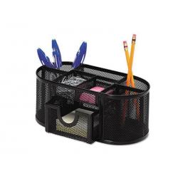 Przybornik na biurko Q-CONNECT Office Set metalowy, z szufladką - czarny