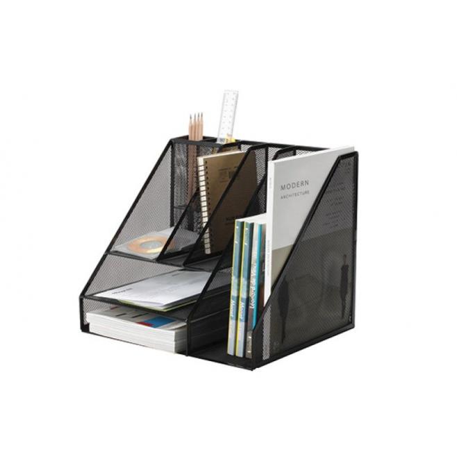 organizer na biurko q connect office set metalowy czarny