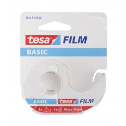 Taśma samoprzylepna Tesa Basic 15mm/10m z dyspenserem - przezroczysta
